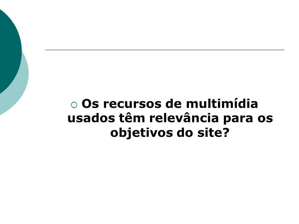 Os recursos de multimídia usados têm relevância para os objetivos do site