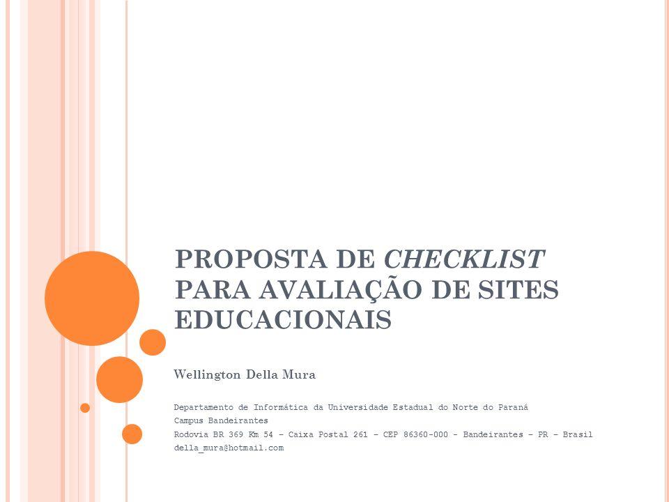 PROPOSTA DE CHECKLIST PARA AVALIAÇÃO DE SITES EDUCACIONAIS