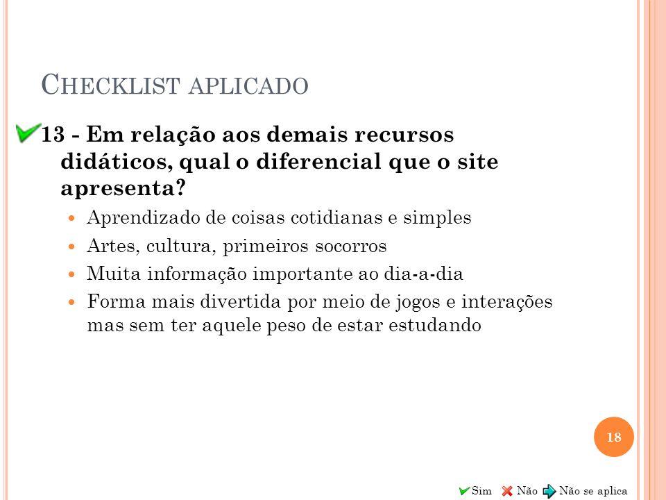 Checklist aplicado 13 - Em relação aos demais recursos didáticos, qual o diferencial que o site apresenta