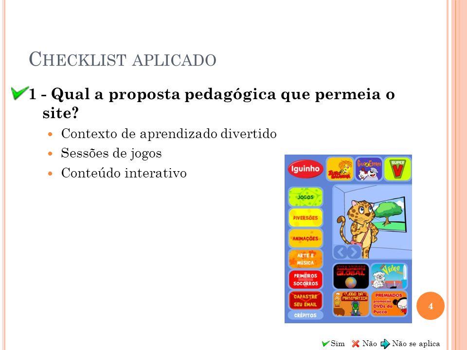 Checklist aplicado 1 - Qual a proposta pedagógica que permeia o site