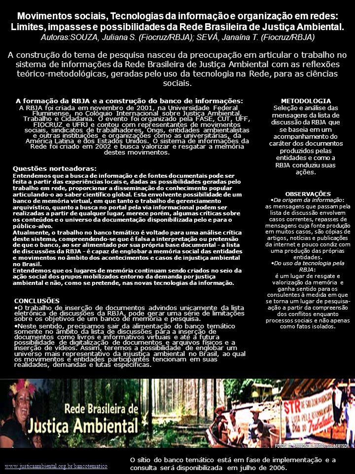 A formação da RBJA e a construção do banco de informações: