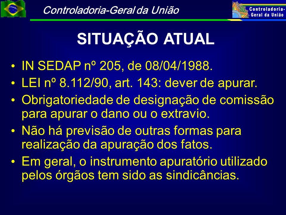 SITUAÇÃO ATUAL IN SEDAP nº 205, de 08/04/1988.