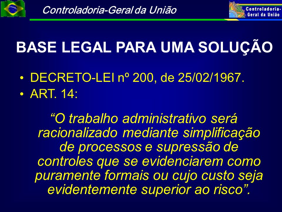BASE LEGAL PARA UMA SOLUÇÃO
