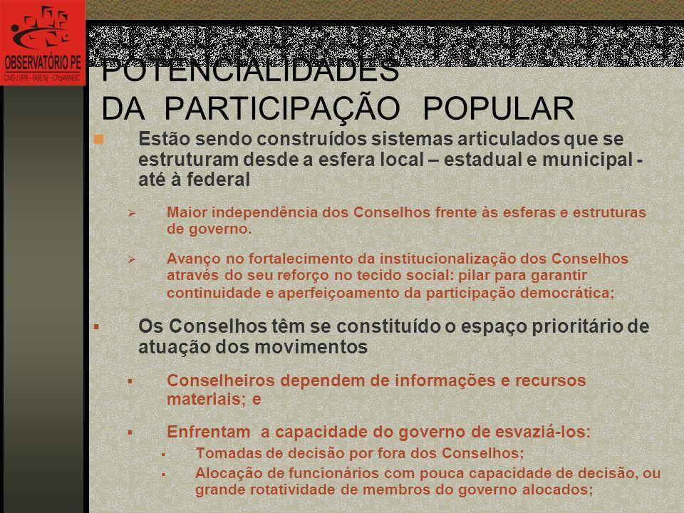 POTENCIALIDADES DA PARTICIPAÇÃO POPULAR