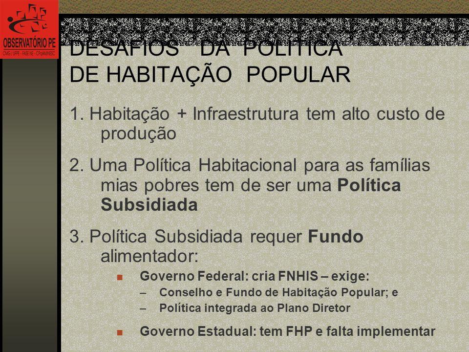 DESAFIOS DA POLÍTICA DE HABITAÇÃO POPULAR