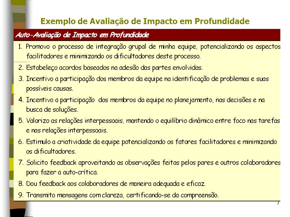 Exemplo de Avaliação de Impacto em Profundidade