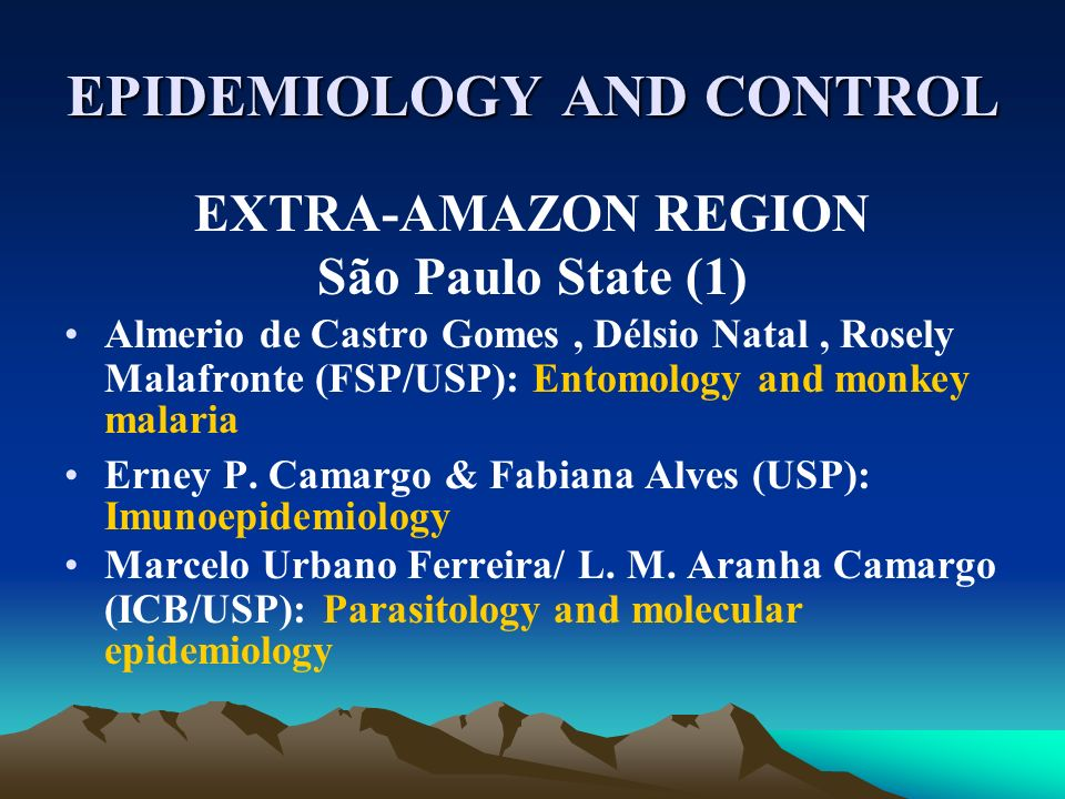 EPIDEMIOLOGY AND CONTROL