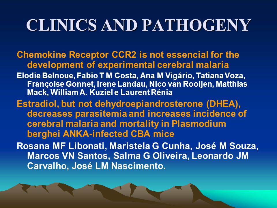 CLINICS AND PATHOGENYChemokine Receptor CCR2 is not essencial for the development of experimental cerebral malaria.