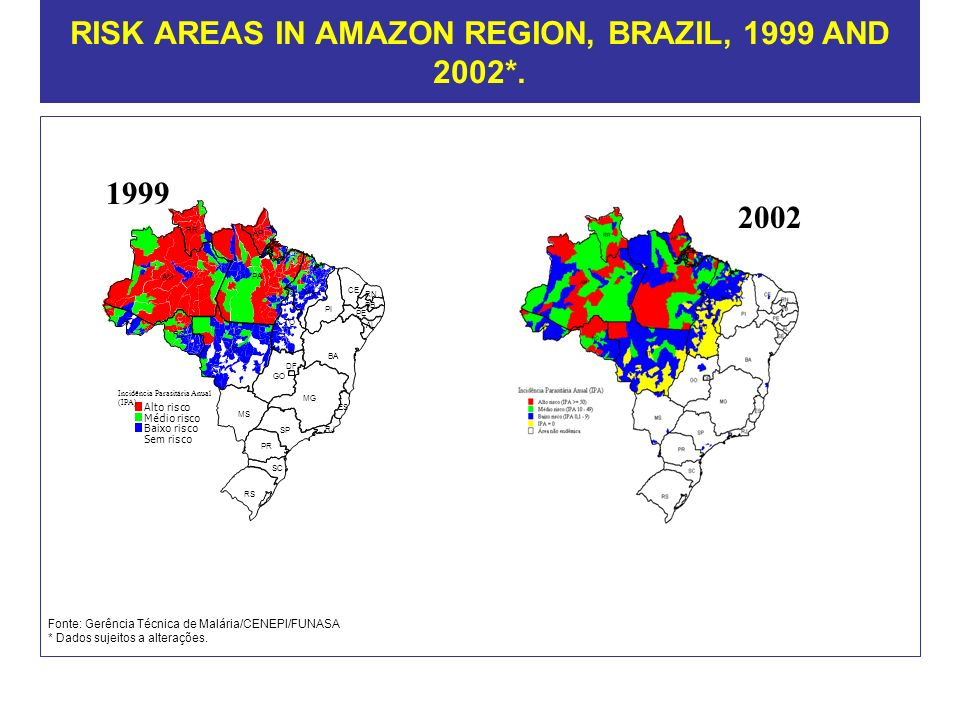 RISK AREAS IN AMAZON REGION, BRAZIL, 1999 AND 2002*.