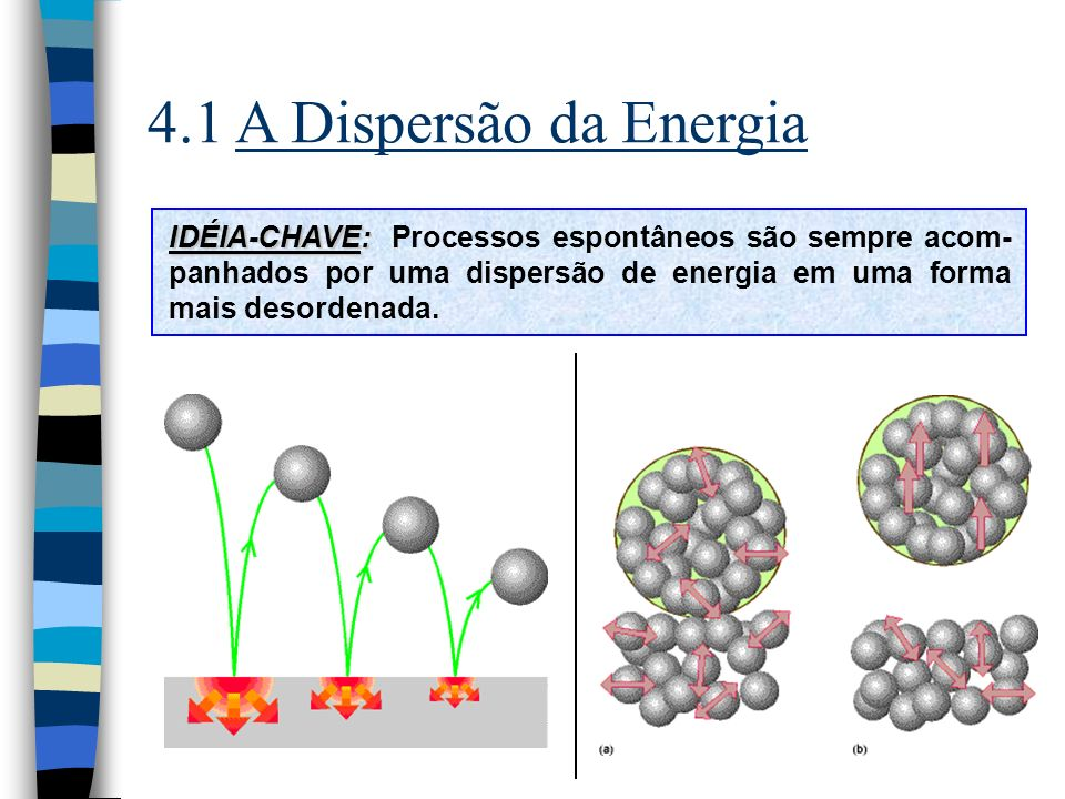4.1 A Dispersão da Energia IDÉIA-CHAVE: Processos espontâneos são sempre acom-panhados por uma dispersão de energia em uma forma mais desordenada.