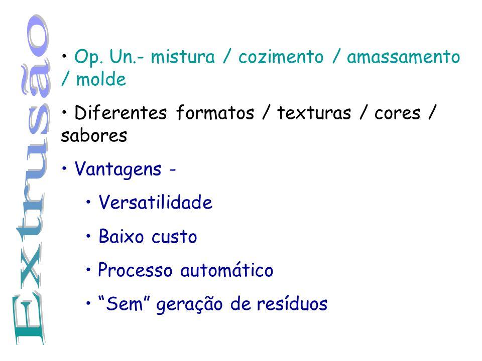 Extrusão Op. Un.- mistura / cozimento / amassamento / molde