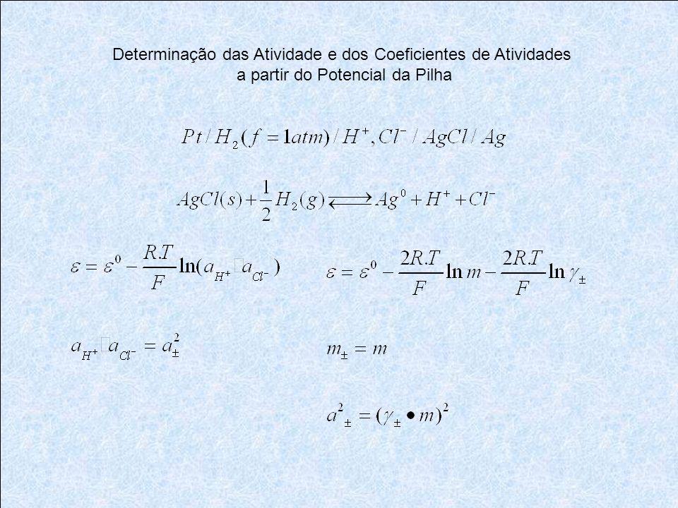 Determinação das Atividade e dos Coeficientes de Atividades