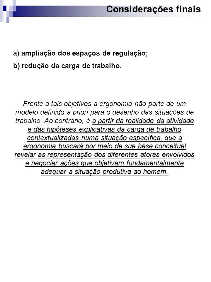 Considerações finais a) ampliação dos espaços de regulação;