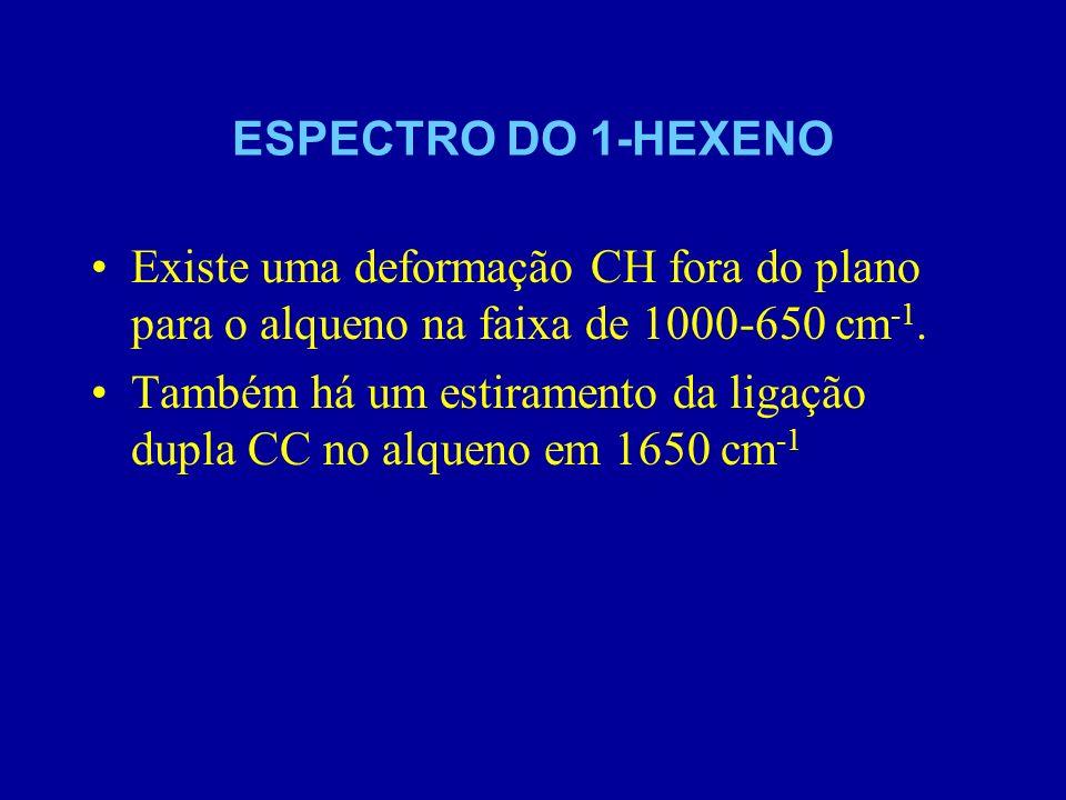 ESPECTRO DO 1-HEXENO Existe uma deformação CH fora do plano para o alqueno na faixa de 1000-650 cm-1.