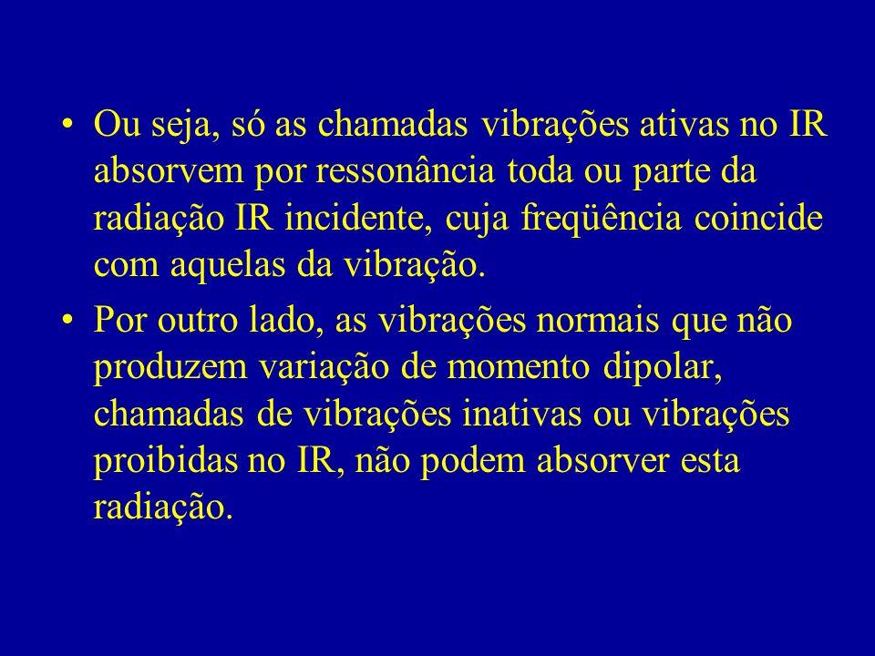 Ou seja, só as chamadas vibrações ativas no IR absorvem por ressonância toda ou parte da radiação IR incidente, cuja freqüência coincide com aquelas da vibração.