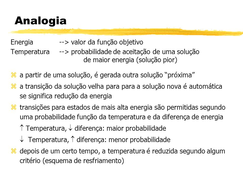 Analogia Energia --> valor da função objetivo