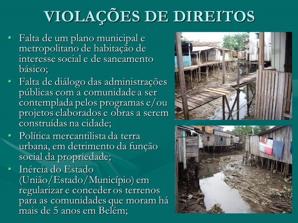 VIOLAÇÕES DE DIREITOSFalta de um plano municipal e metropolitano de habitação de interesse social e de saneamento básico;