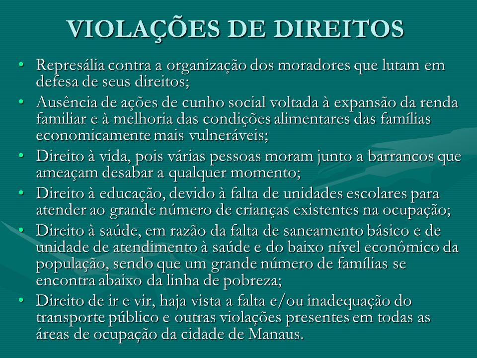 VIOLAÇÕES DE DIREITOSRepresália contra a organização dos moradores que lutam em defesa de seus direitos;