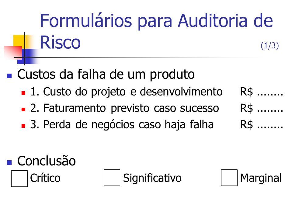 Formulários para Auditoria de Risco (1/3)