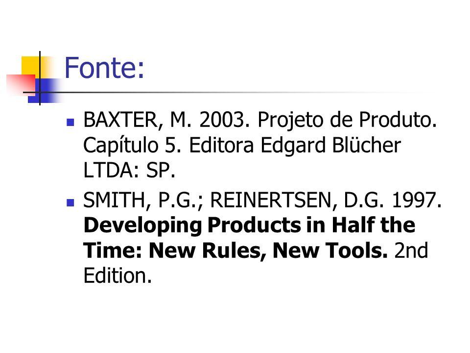 Fonte: BAXTER, M. 2003. Projeto de Produto. Capítulo 5. Editora Edgard Blücher LTDA: SP.