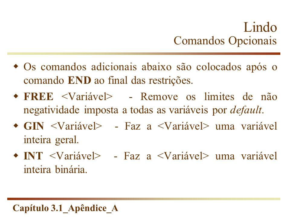 Lindo Comandos Opcionais