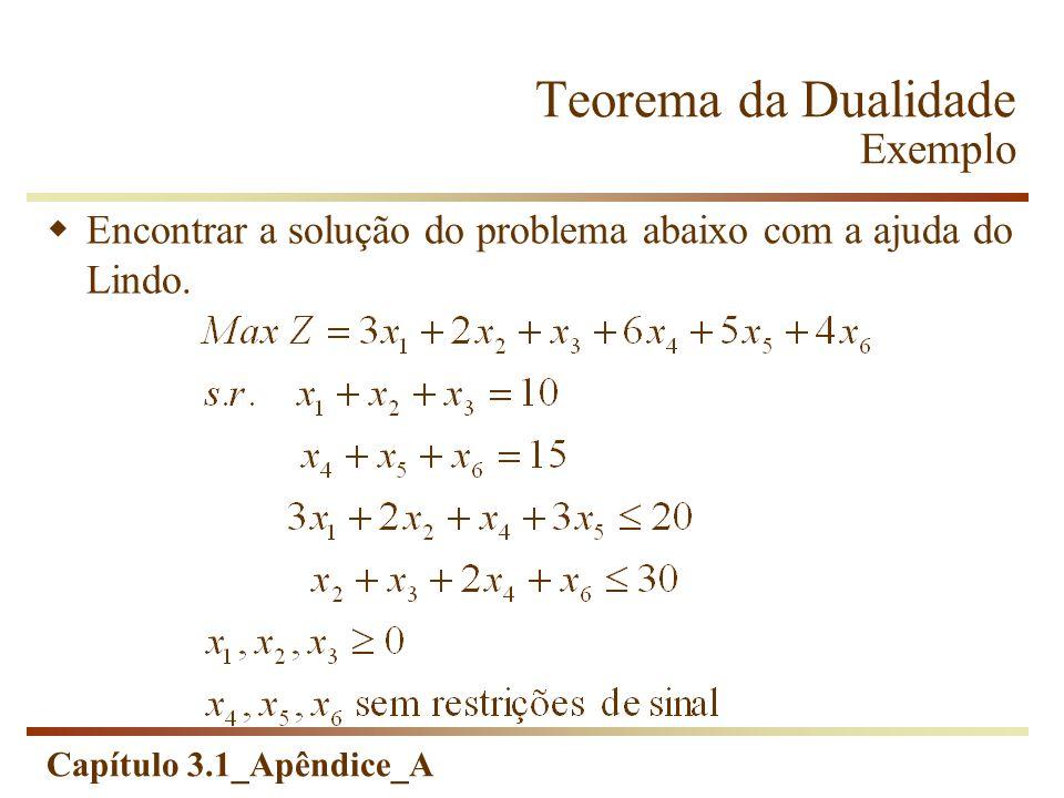 Teorema da Dualidade Exemplo