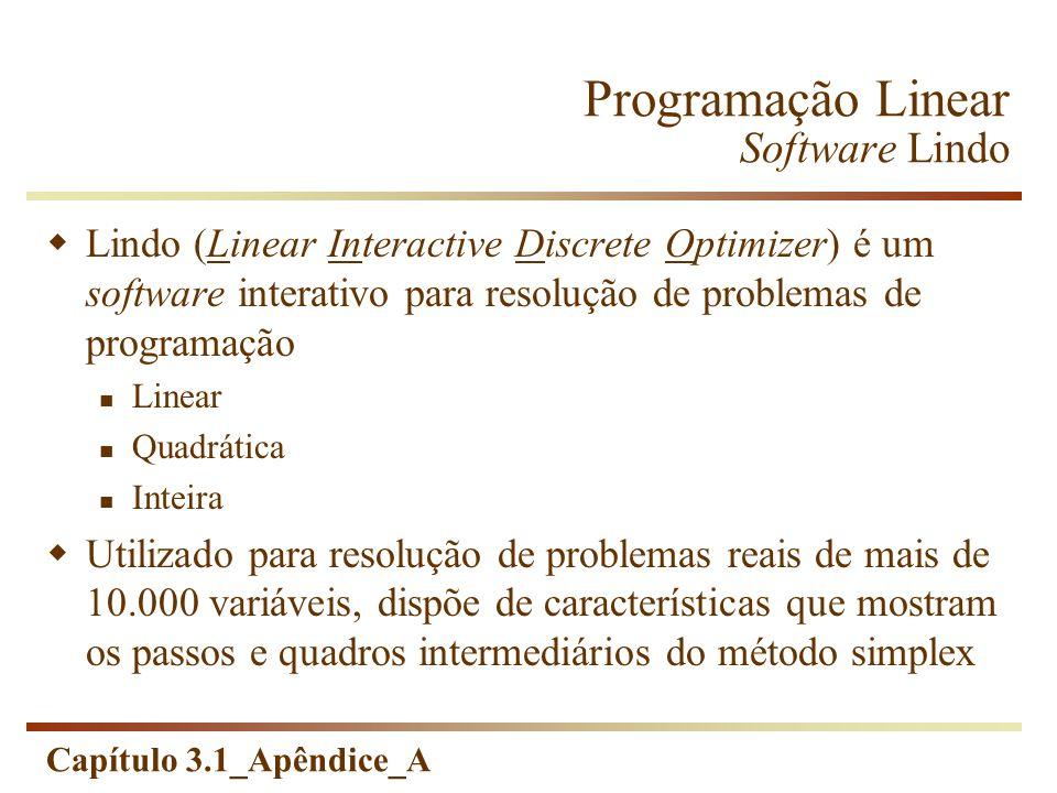 Programação Linear Software Lindo