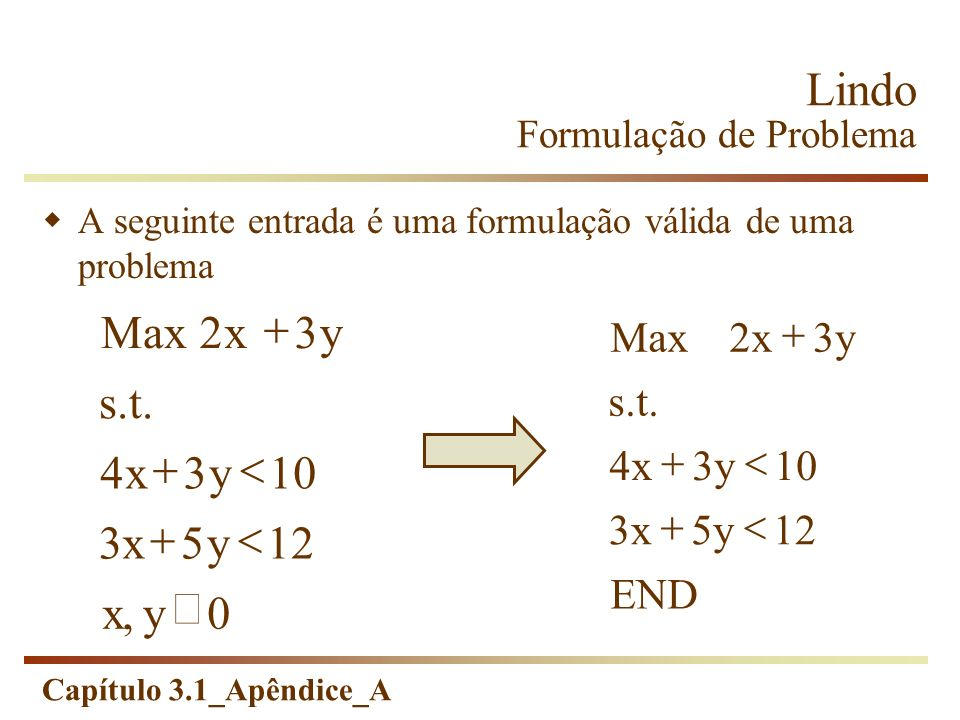 Lindo Formulação de Problema