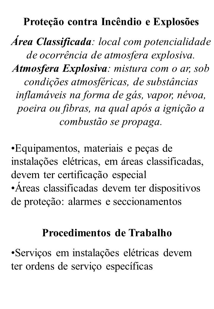 Proteção contra Incêndio e Explosões Procedimentos de Trabalho