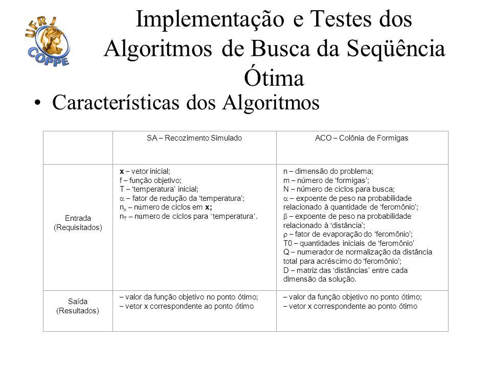 Implementação e Testes dos Algoritmos de Busca da Seqüência Ótima
