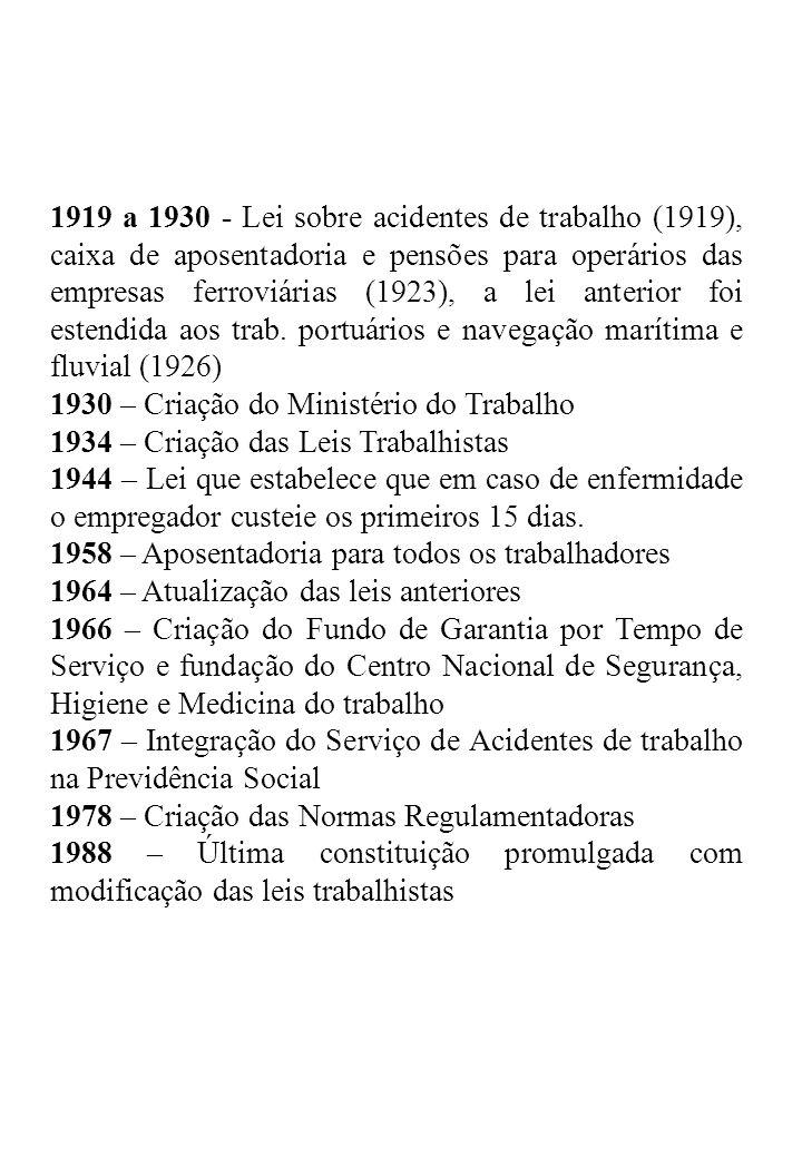 1919 a 1930 - Lei sobre acidentes de trabalho (1919), caixa de aposentadoria e pensões para operários das empresas ferroviárias (1923), a lei anterior foi estendida aos trab. portuários e navegação marítima e fluvial (1926)
