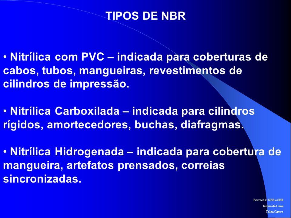 TIPOS DE NBR Nitrílica com PVC – indicada para coberturas de cabos, tubos, mangueiras, revestimentos de cilindros de impressão.