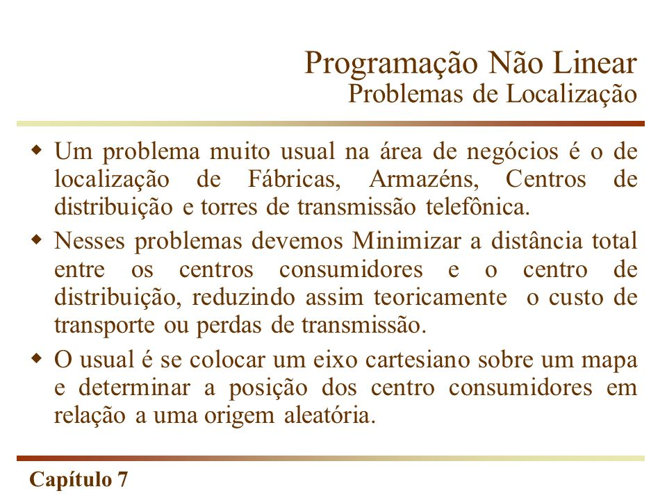 Programação Não Linear Problemas de Localização