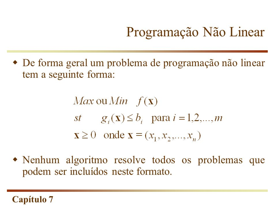 Programação Não Linear