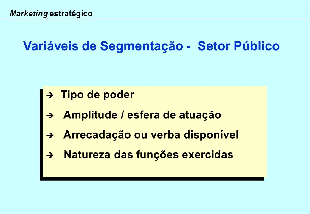 Variáveis de Segmentação - Setor Público