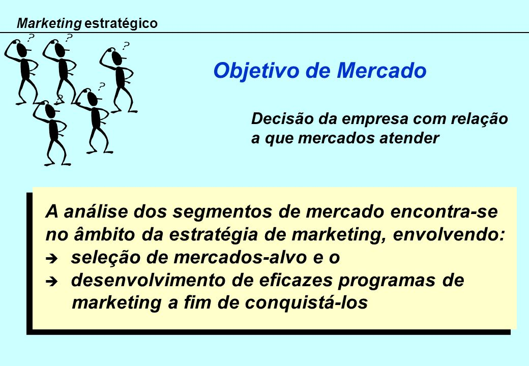 Objetivo de Mercado A análise dos segmentos de mercado encontra-se