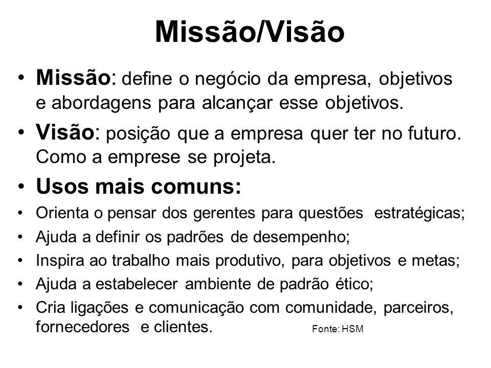 Missão/VisãoMissão: define o negócio da empresa, objetivos e abordagens para alcançar esse objetivos.