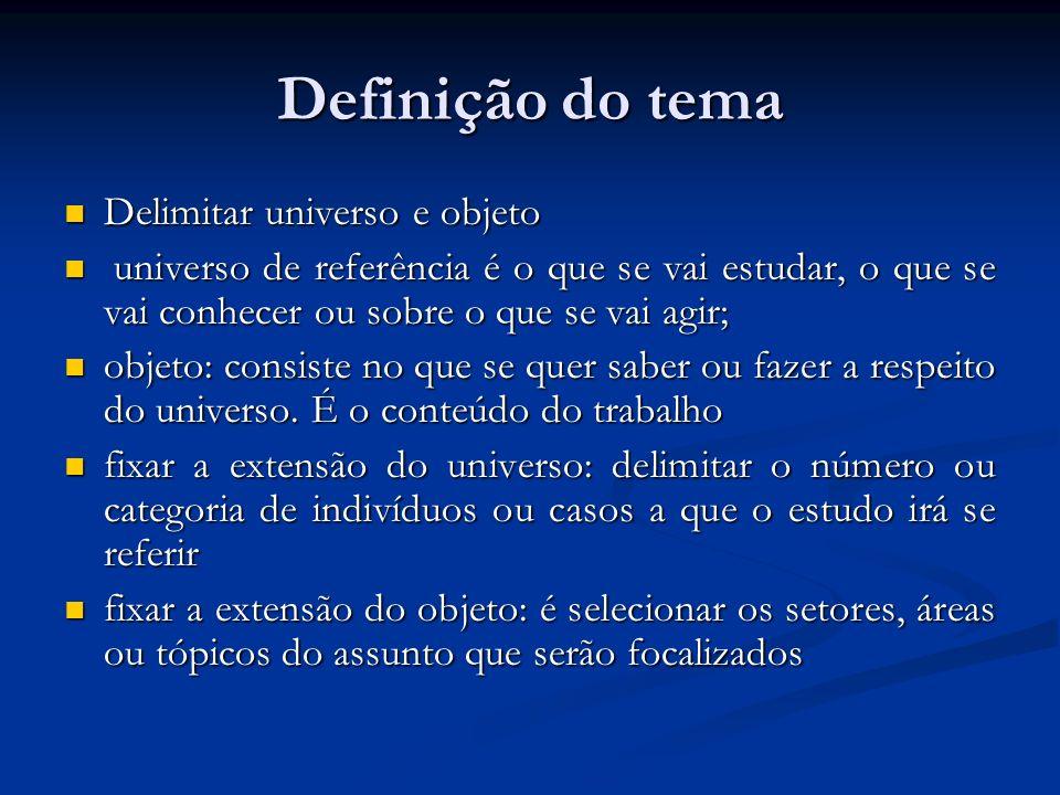 Definição do tema Delimitar universo e objeto