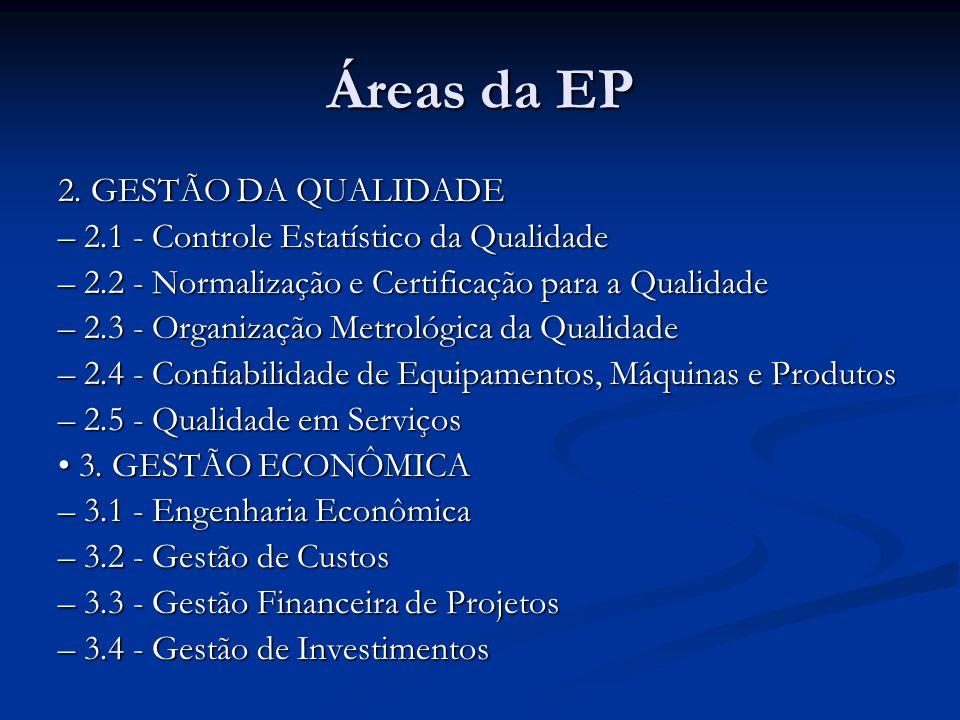 Áreas da EP 2. GESTÃO DA QUALIDADE