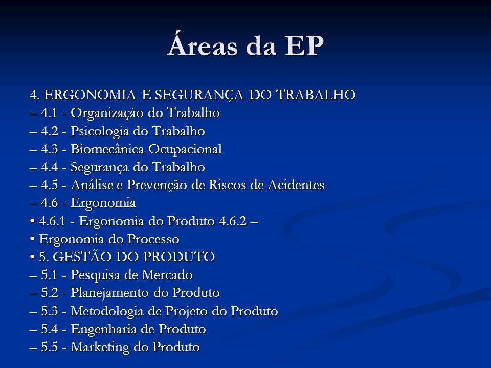 Áreas da EP 4. ERGONOMIA E SEGURANÇA DO TRABALHO