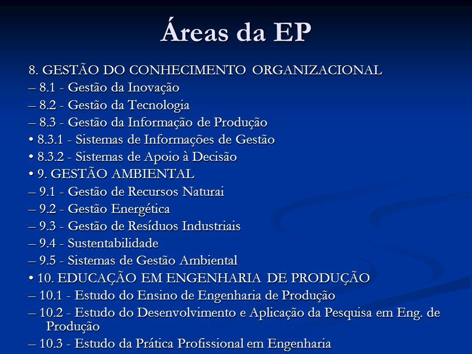 Áreas da EP 8. GESTÃO DO CONHECIMENTO ORGANIZACIONAL