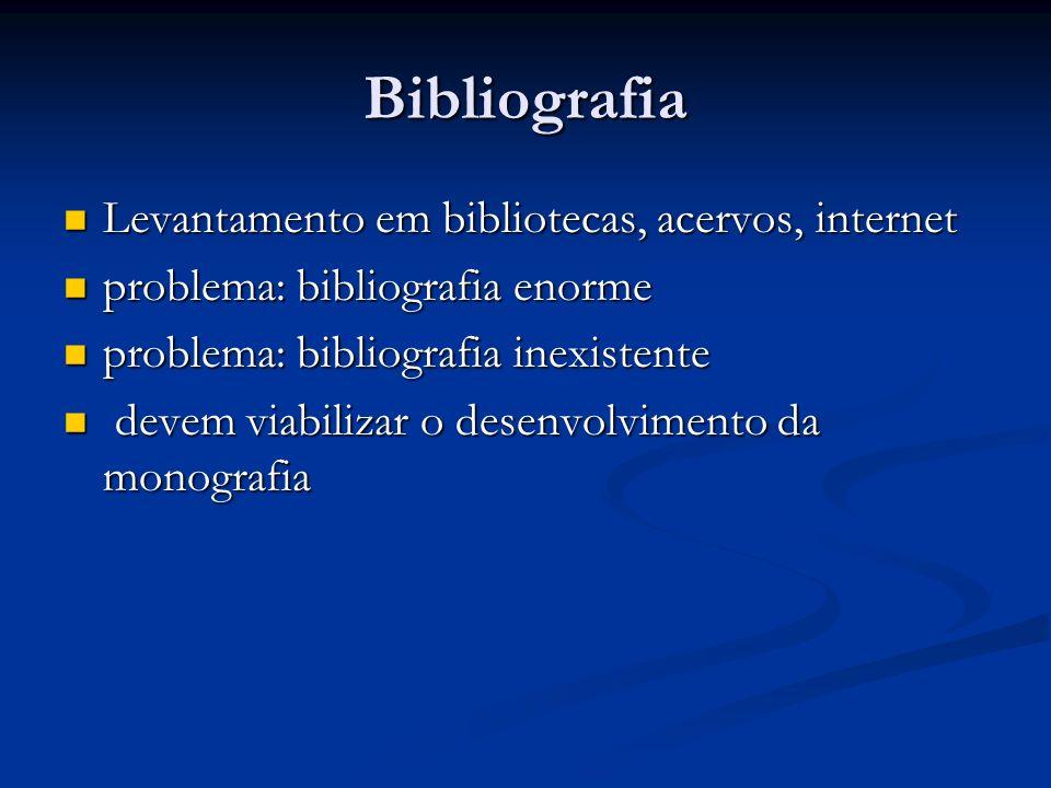 Bibliografia Levantamento em bibliotecas, acervos, internet