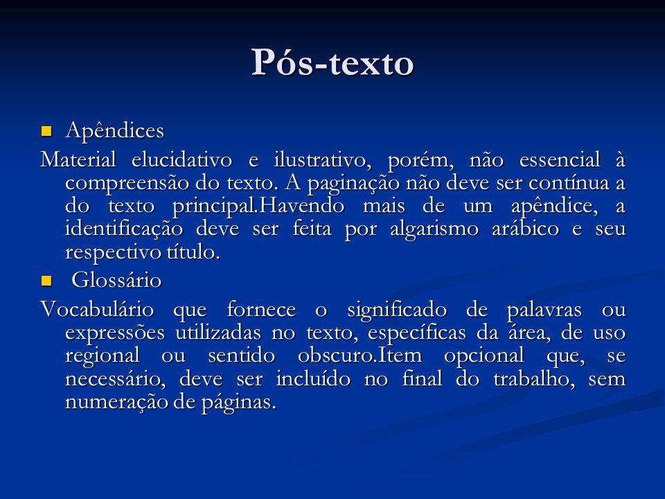 Pós-texto Apêndices.
