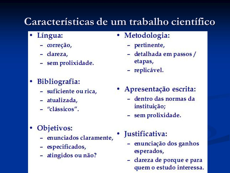 Características de um trabalho científico