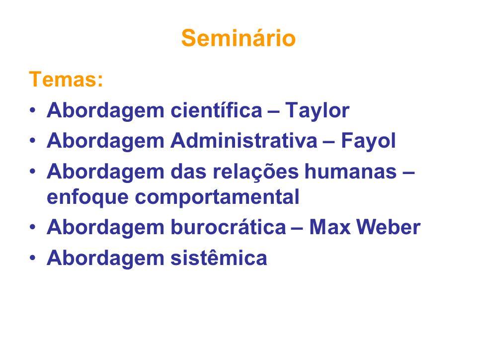 Seminário Temas: Abordagem científica – Taylor