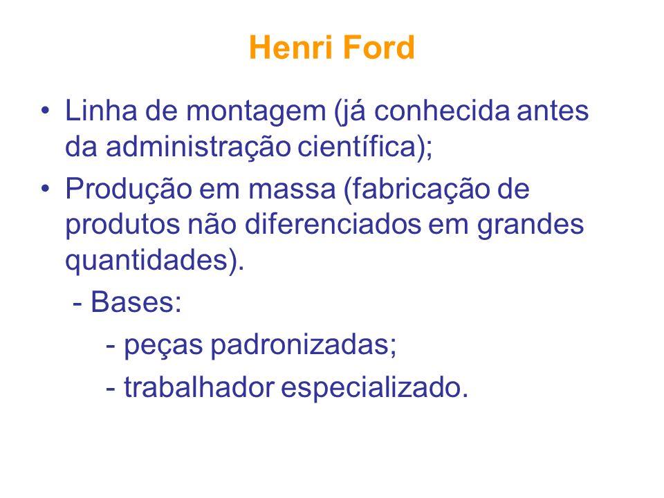 Henri Ford Linha de montagem (já conhecida antes da administração científica);
