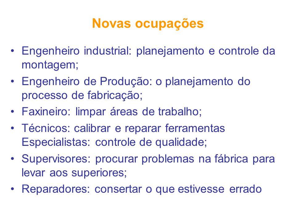 Novas ocupações Engenheiro industrial: planejamento e controle da montagem; Engenheiro de Produção: o planejamento do processo de fabricação;