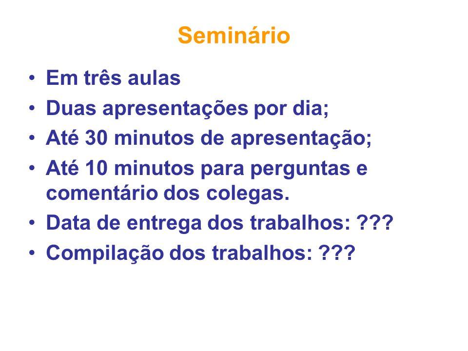 Seminário Em três aulas Duas apresentações por dia;
