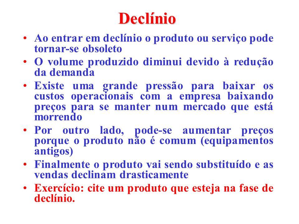Declínio Ao entrar em declínio o produto ou serviço pode tornar-se obsoleto. O volume produzido diminui devido à redução da demanda.