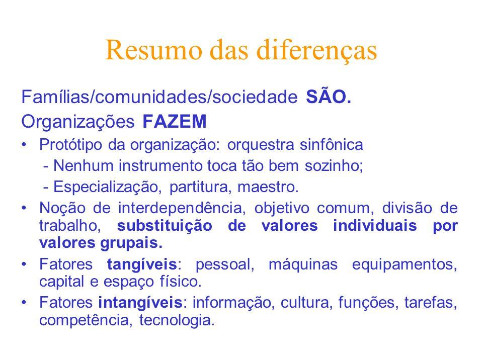 Resumo das diferenças Famílias/comunidades/sociedade SÃO.